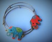 Elephant Charm Bracelet Gold Set of Two