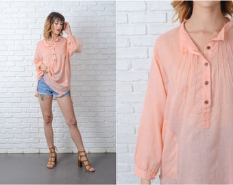 Vintage 70s Pink Hippie Boho Tunic Top Blouse Sheer Oversize S M L 9188