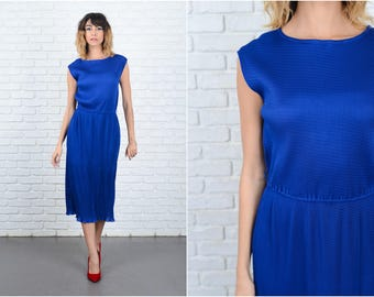 Vintage 80s Blue Midi Dress Sleeveless Retro Stretch Small S 9253