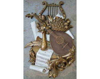 Large Vintage Gold Cream Syroco Music Themed Wall Hanging - Ukulele Harp Floral Filigree Sheet Music Wall Plaque