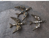 SALE Smaller Brass Bird Pendant w/ Rhinestones 23mm New Hand Oxidized (1) Crystal Montana Blue Dorado or Burgundy