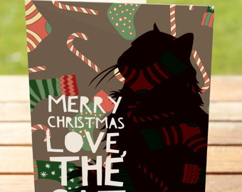 Christmas Greeting Card: Merry Christmas Love, The Cat   A7 5x7 Folded - Blank Inside - Wholesale Available