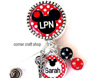 Mickey Mouse Head LPN  Nurse Personalized Name Charm Retractable Badge Reel Holder Id Reel w/ Charms Caduceus Beads Id tag, with Gem