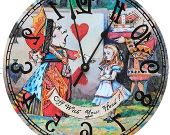 Queen of Hearts Alice in Wonderland  Backwards clock