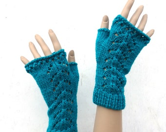 knit fingerless gloves, knitted fingerless mittens, knit green arm warmers, lace hand warmers, women gloves, spring accessories