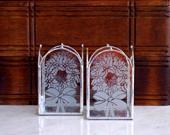 etched glass Christmas candle holders pair