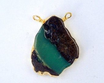 45% off Liquidation SALE Raw Chrysoprase Pendant with 24k Gold Electroplated Edge- Raw Chrysoprase Double Bail Charm Pendant (S9B5-03)