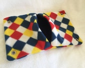 "9""x14"" Pocket Hammock for Pet Rats, Sugar Gliders - All Fleece Primary Harlequin with Navy Blue Interior - Won't Fray When Chewed!"