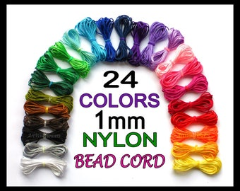 Nylon Bracelet Cord - 1mm Jewelry Cording & Custom Blythe Doll Pull String in 24 Colors