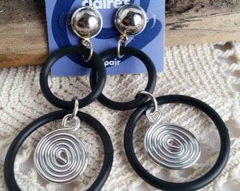 Long Swirly Hoop Earrings, Vintage Claire's Pierced Earrings, New On Card