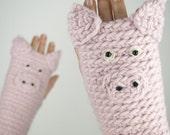 Piggy / Pig Fingerless Gloves ~ Handmade