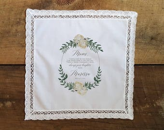 Wedding Handkerchief for MOTHER of the BRIDE Peonies and Greens Mother of the Bride Handkerchief.  Lace Edge. Printed Wedding Handkerchief