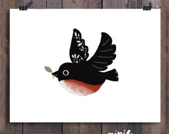 Pipilo Bird Illustration: Art Print