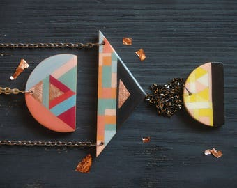Triangle pendant necklace,color block,geometric necklace,BFF gift,best friend gift , wood necklace ,everyday necklace