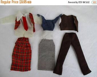 Spring SALE 20% OFF Vintage 6 Piece Lot of Barbie Clothes, 3 Pairs of Suits...Plaid Skirt, Vests, Corduroy Pants Leather Vest