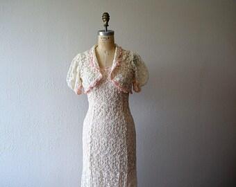1930s dress . vintage tambour lace gown . wedding dress