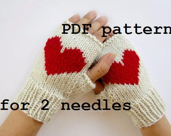 PDF pattern knitting pattern arm warmers wrist warmers gloves mittens with heart for 2 needles