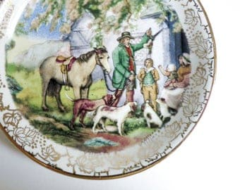 Midwinter Staffordshire Butter Pat, Pin Dish, Tea Bag Holder - English Rural Country Scene with Man, Mother, Children - Gift for Her or Him