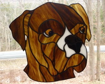 Stained Glass Boxer Suncatcher