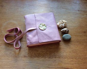 Dusty Rose Pink Leather Journal-Handmade Square Leather Sketchbook with Shell Button-Gift Idea