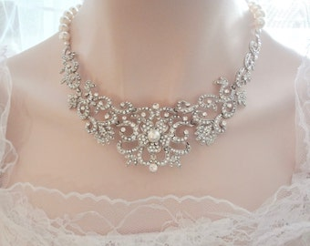 Pearl necklace ~ Statement necklace ~ LUX ~ Swarovski pearls ~ Crystal Bib necklace ~ Brides necklace ~ Vintage style ~ FABULOUS ~ ALEXIS