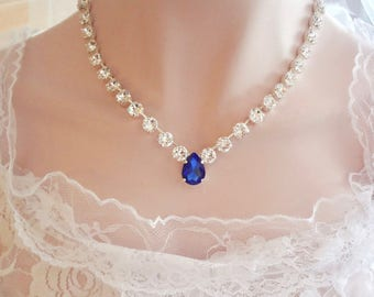 Swarovski crystal necklace, Brides necklace, Crystal wedding necklace, Blue sapphire crystal necklace,Something blue,Bridal necklace, SOPHIA