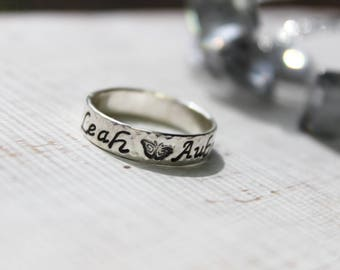 Hammered Edge 5mm Ring- Handstamped Ring-Sterling Silver-Personalized Ring