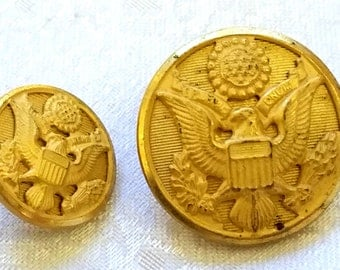 12pc 1960s Mid-Century US Army Officer's Goldtone WWII Military Buttons Set