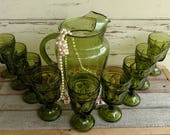 Vintage Avacodo Green Glasses + Matching Pitcher - Vintage Drink Glass Set, Retro Lux Barware, 1960's Drinkwater or Barware, Mad Men Lux