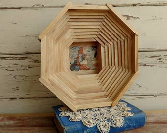 Vintage Peanuts Popsicle Art Basket - Retro Folk Art, Cooking Supply, Tramp Art, Popsicle Stick Art, Wood Trivet, Kitchen Tools on SALE