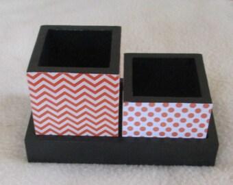 Office Desk Organizer - Pencil Cup Holder - Small Organizer - Desk organizer - Organizer - Desk - Small - Orange Chevron - Orange Polka Dot