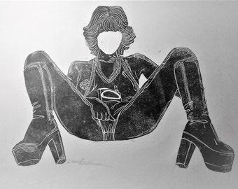 """inspiration erotique vintage linogravure imprimé à l'encre à l'huile  sur papier de riz"""" Mercedes """""""