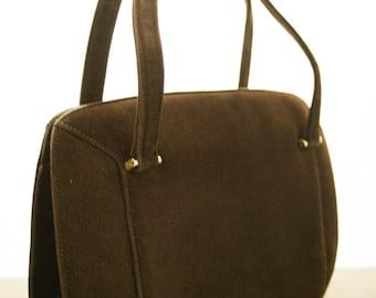 Vintage Expandable Purse, 3 Compartments, Brown Suede, Double Handles
