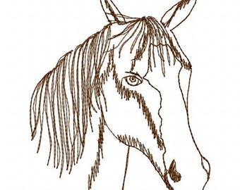 Horse Head Embroidery Design - Instant Download