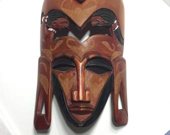 African Mask Vintage Tribal Handmade HandCarved Wood Haunted Dogon Tribe Mask Spiritual Goddess Altar Earthy Art Home Decor Tiki Art Mask