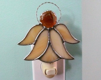 "Stained Glass Angel Night Light in Amber Swirl Opalescent Glass with Amber Crystal Head - 4.25"" x 4.5"""
