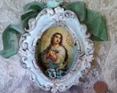 Radiance....shrine wall hanging, altered tin with ornate frame, ribbon, roses, old religious image