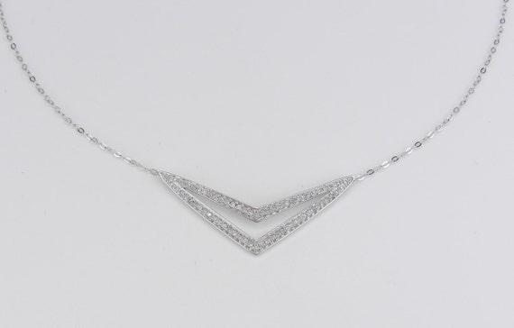 "Diamond Bar Necklace Cluster Pendant White Gold Wedding Gift Chain 17"" Modern"