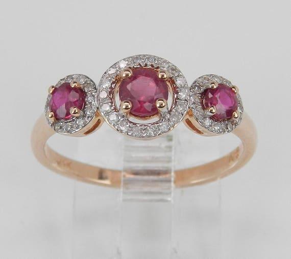 Diamond and Ruby Three Stone Halo Anniversary Ring 14K Rose Gold Size 7 July Birthstone