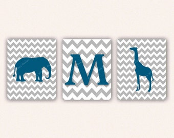 Chevron Elephant Monogram and Giraffe Print Set - Peacock Blue and Gray Wall Art - Zoo or Jungle Nursery Art (5005)