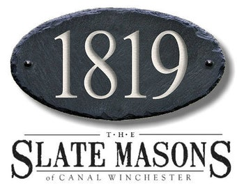 SLATE House Numbers ( Carved Stone ) Marker / Home Address Sign plaque Custom Modern outdoor #MA-1SB
