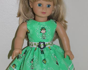 Peanuts and the gang St. Patrick's Day dress and headband for your 18 inch doll