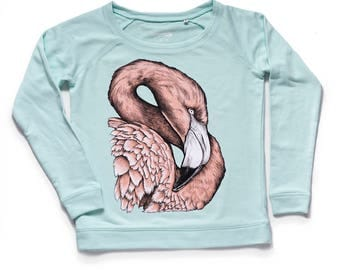 SALE flamingo sweatshirt women's fit organic cotton clothing