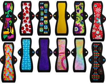 "Postpartum Cloth Pads Set of 12 (Eight 12"" Heavy, Four 14"" Heavy)"