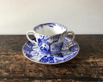 "Vintage Royal Crown Derby "" Blue Mikado"" Demitasse Two Handled Tea Cup & Saucer Set Made In England"