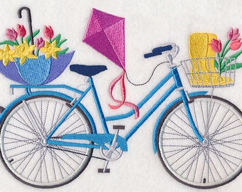 Spring Fling Bicycle Embroidered on Kona Cotton Quilt Block // Plain Weave Cotton Dish Towel // Also Available on Other Items