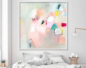 "ABSTRACT Painting, giclée print, abstract art, up to 40x40"", Acrylic Painting, Extra Large Wall Art, Abstract Art Print, Pink grey pastels"