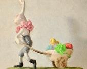 RESERVED Spun cotton Hare ( bunny, rabbit )  pulling a cart OOAK Easter vignette by jejeMae