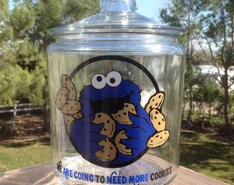 Cookie Monster glass cookie jar, Mother's day gift idea, glass canister, glass kitchen canister, glass kitchen cookie jar, custom cookie jar