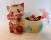 Ceramic Pink Cat or Kitty Planter American Bisque Pottery
